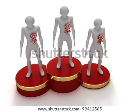 Red podium with the winners - stock photo