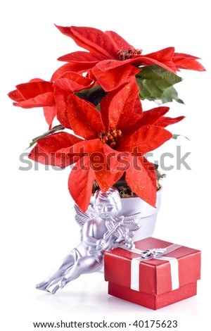 Red poinsettia, a silver angel and a red little christmas present, isolated on white.
