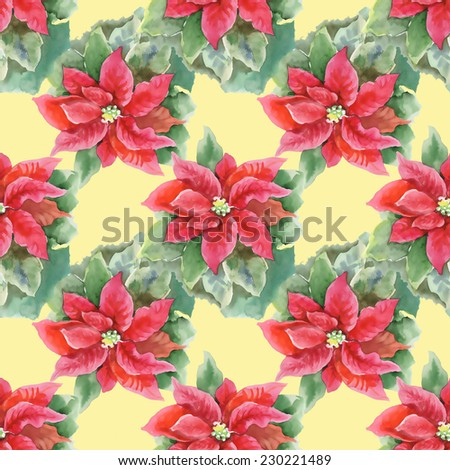 Red Poinsettia with Green Leaves seamless pattern on yellow background, watercolor illustration - stock photo