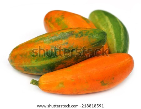 Red Pointed gourd over white background - stock photo