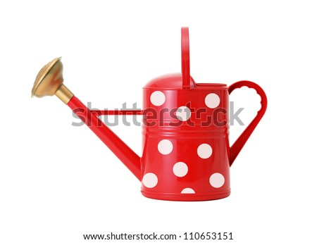 red polka dot watering can isolated on white - stock photo