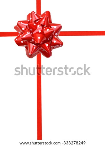 Red polka dots gift bow isolated on white background