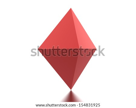 Red polygonal element rendered on white background - stock photo