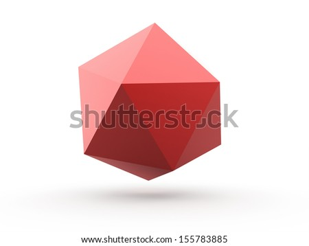Red polygonal sphere element isolated on white background - stock photo