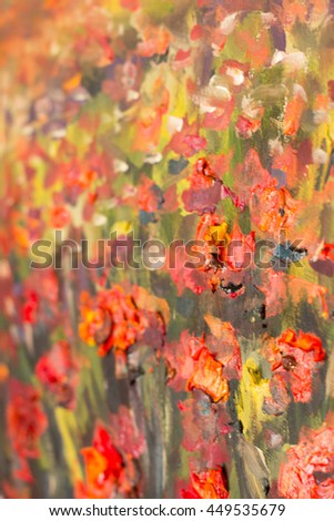 Red poppies flowers. Close up fragment of oil painting artistic flowers image. Artistic Palette knife flowers macro. Macro artist's impasto flowers, texture mixed oil paints flowers.