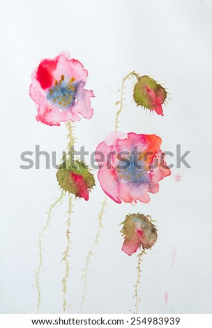 Red poppies on white ; Watercolor painting on paper - stock photo