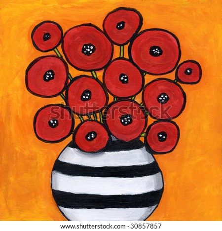 Red Poppies Painting / illustration  I am the artist and hold the copyright - stock photo