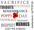 Red poppy design for Remembrance Day - stock vector