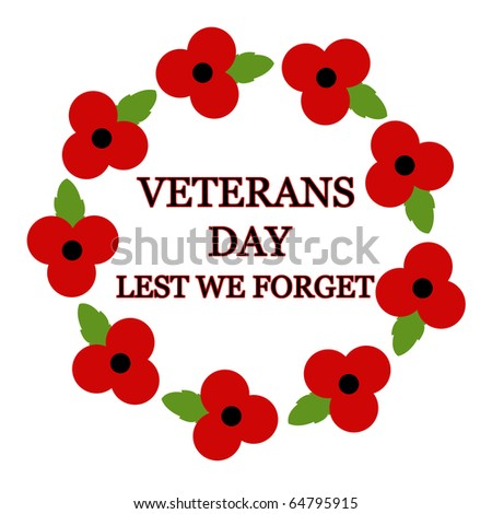 Red poppy design for Remembrance Day - stock photo