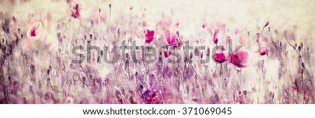 Red poppy field illustration, watercolor on paper background