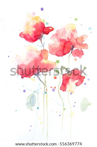 Red poppy flowers painting on white stock illustration 556369774 red poppy flowers painting on white in impressionism style mightylinksfo