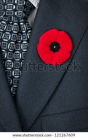 Red poppy lapel pin on suit jacket for Remembrance Day - stock photo