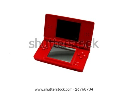 Red portable video-game isolated on white. - stock photo