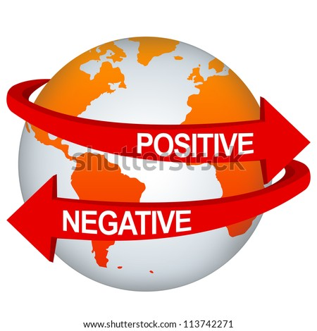 Red Positive And Negative Arrow Around The Orange Earth For Business Direction Concept Isolate on White Background - stock photo