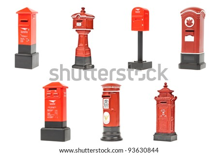 red post box collection in Thailand - stock photo