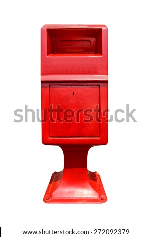 Red postbox isolated on white background. - stock photo