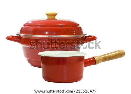 red pot isolated on white background - stock photo
