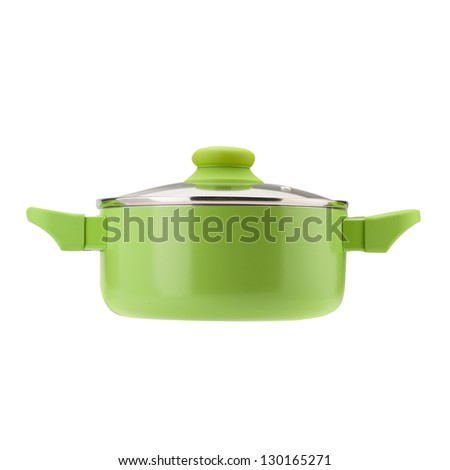 Red pot with cover,  Isolated on white background