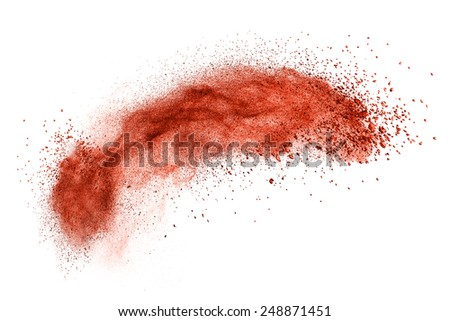 red powder explosion isolated on white background - stock photo