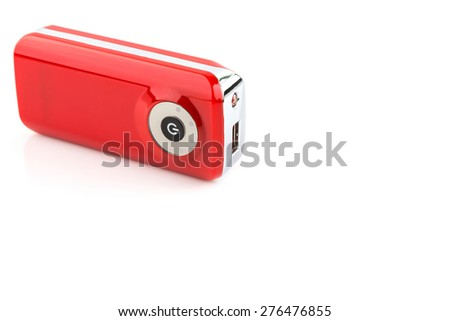 red power bank isolated on white background - stock photo