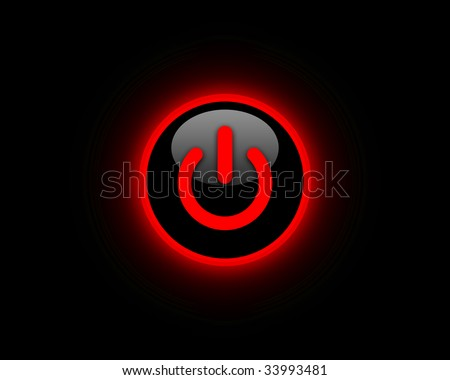 Red power button - stock photo