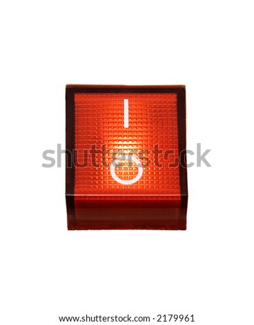 Red Power Switch - ON - stock photo