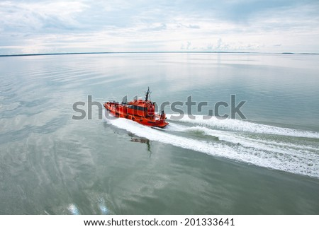 red powerboat - stock photo