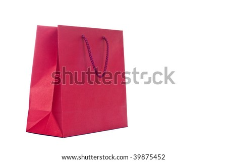 Red present paper bag isoslated on white background - stock photo