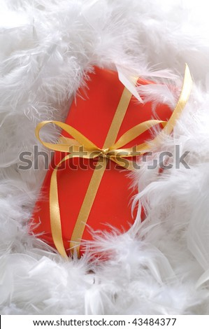 Red present with golden ribbon