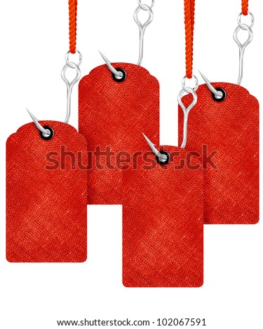 Red price tags with fishing hook isolated on white background. - stock photo
