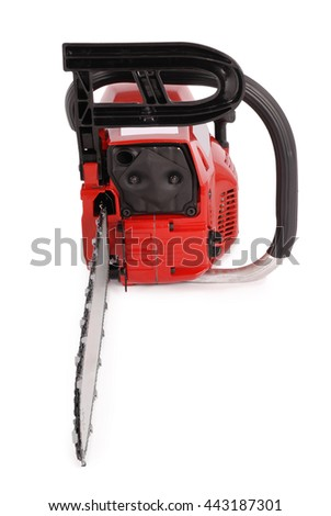 Red professional chainsaw isolated on white background - stock photo