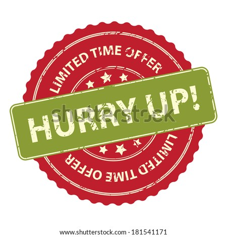 Red Promotional or Marketing Material, Sticker, Rubber Stamp, Icon or Label for Limited Time Offer Hurry Up Event Isolated on White Background - stock photo