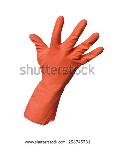 Red protection glove isolated on white background - stock photo