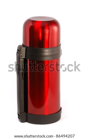 Red protection-thermos coffee cup isolated on white. - stock photo