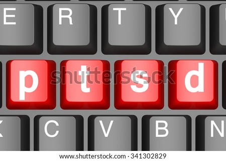 Red ptsd button on modern computer keyboard image with hi-res rendered artwork that could be used for any graphic design.