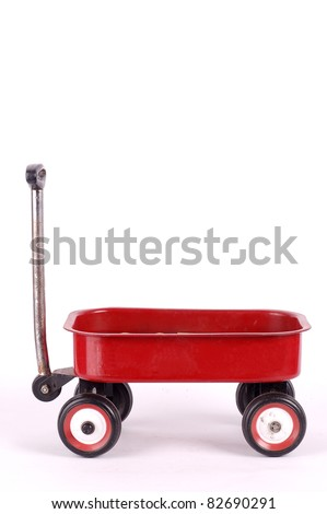 Red pull trolley - stock photo