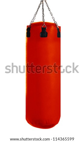 Red Punching bag for boxing or kick boxing sport, isolated on white background. - stock photo