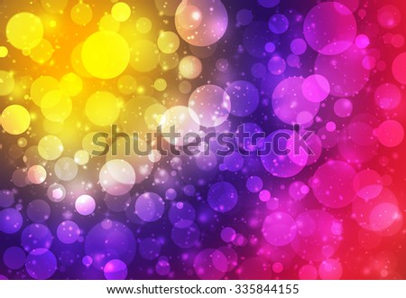 Red purple and gold glitter sparkles defocused rays lights bokeh abstract background. - stock photo