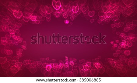 Red-purple background with frame of heart symbols for design greeting card
