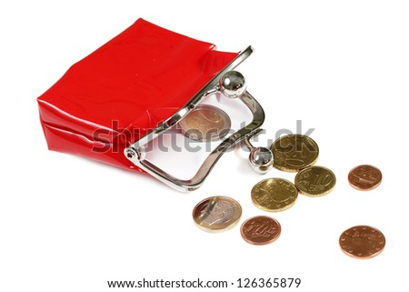 Red purse and coins isolated on white - stock photo