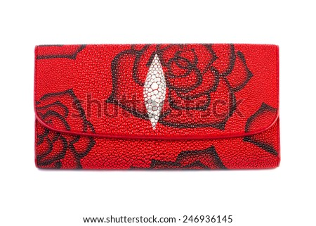 Red purse clutch isolated on white background - stock photo