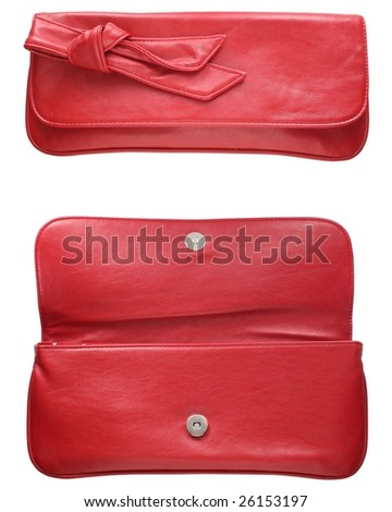 Red purse isolated on white - stock photo