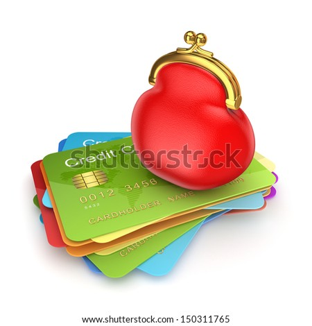 Red purse on colorful credit cards.Isolated on white.3d rendered. - stock photo