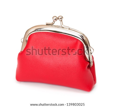 Red purse on white background - stock photo
