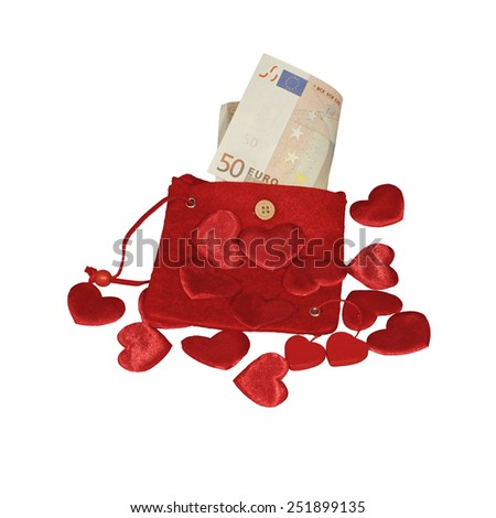 Red purse with fifty euro banknote and red hearts - stock photo