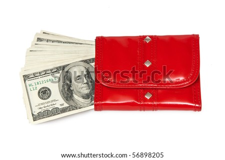 red purse with money - stock photo
