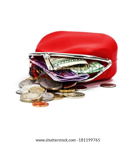 Red purse with money on white background - stock photo