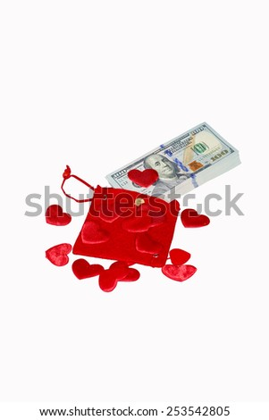 Red purse with one hundred dollar banknotes - stock photo