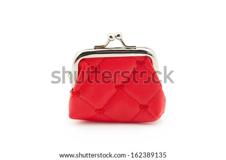 Red purses isolated on white - stock photo