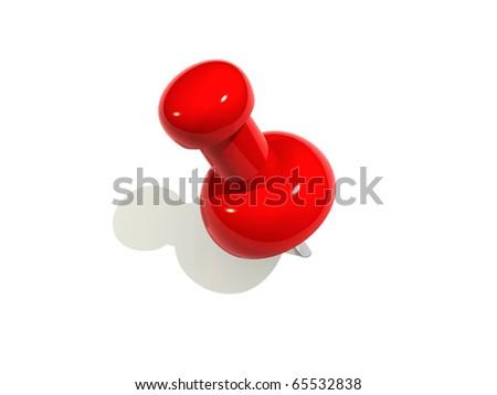 Red push pin illustration - stock photo